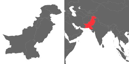 Map of Pakistan with location on asian map