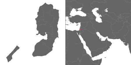 Map of Palestine with location on asian map