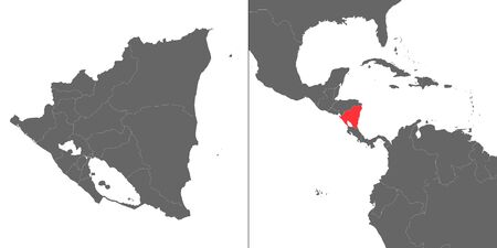 Map of Nicaragua with location on american map