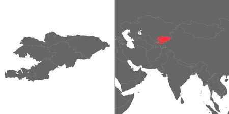 Map of Kyrgyzstan with location on asian map