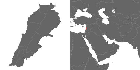 Map of Lebanon with location on asian map
