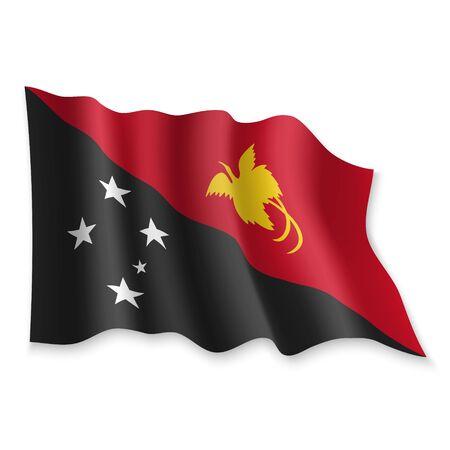 3D Realistic waving Flag of Papua New Guinea on white background Standard-Bild - 132558574