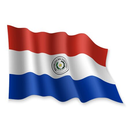 3D Realistic waving Flag of Paraguay on white background Standard-Bild - 132558089
