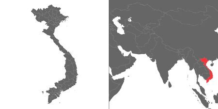 Map of Vietnam with location on asian map