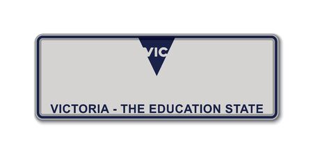 Car number plate. Vehicle registration license of Victoria State of Australia