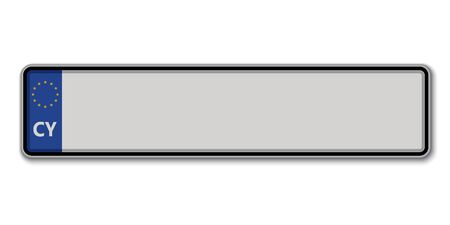 Car number plate. Vehicle registration license of Cyprus Stock Illustratie