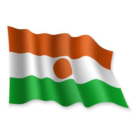 3D Realistic waving Flag of Niger on white background Standard-Bild - 132558149