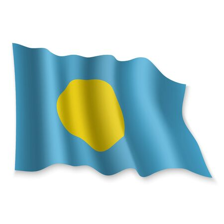 3D Realistic waving Flag of Palau on white background Standard-Bild - 132558471