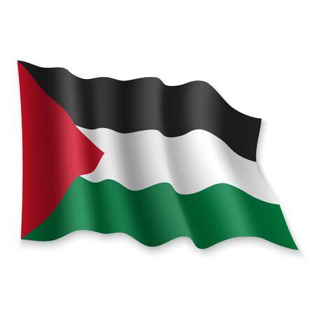 3D Realistic waving Flag of Palestine on white background Standard-Bild - 132558463