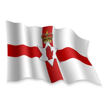 3D Realistic waving Flag of Northern Ireland on white background
