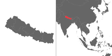 Map of Nepal with location on asian map Ilustração