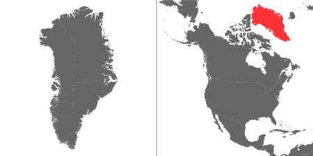 Map of Greenland with location on american map