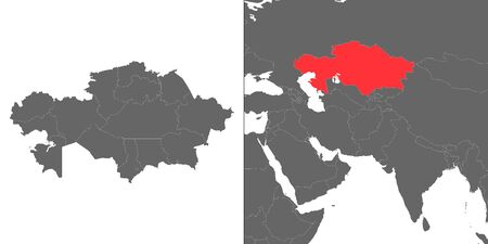 Map of Kazakhstan with location on asian map  イラスト・ベクター素材
