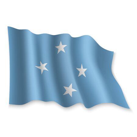 3D Realistic waving Flag of Micronesia on white background Standard-Bild - 132558174