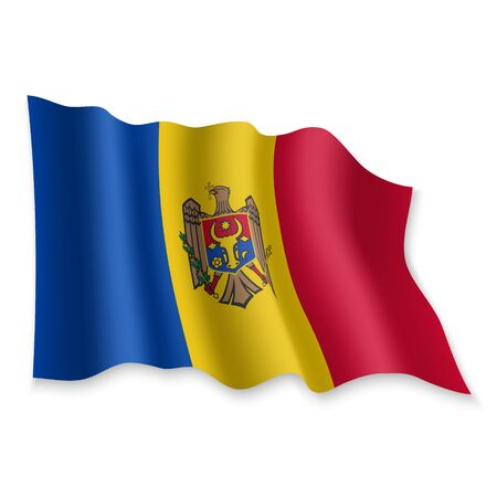 3D Realistic waving Flag of Moldova on white background Standard-Bild - 132558357
