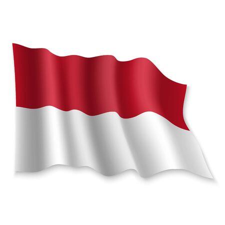 3D Realistic waving Flag of Monaco on white background Standard-Bild - 132558522