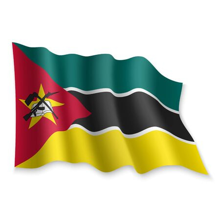 3D Realistic waving Flag of Mozambique on white background Standard-Bild - 132558278