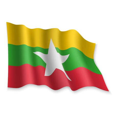 3D Realistic waving Flag of Myanmar on white background Standard-Bild - 132558356