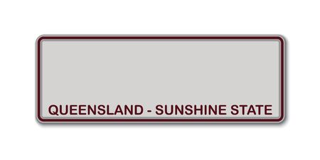 Car number plate. Vehicle registration license of Queensland State of Australia Stock Illustratie