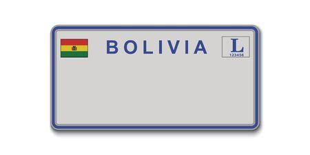 Car number plate. Vehicle registration license of Bolivia