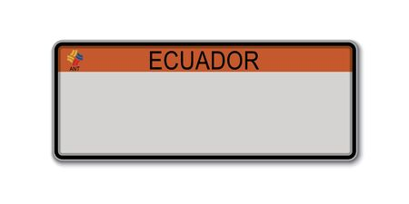 Car number plate. Vehicle registration license of Ecuador