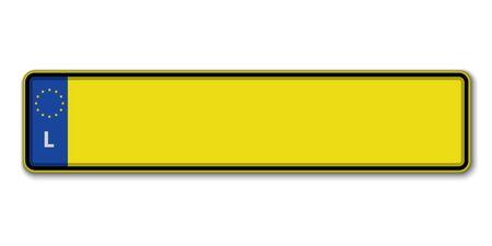 Placa de matrícula de coche. Licencia de matriculación de vehículos de Luxemburgo
