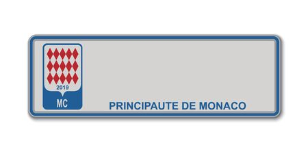Car number plate. Vehicle registration license of Monaco