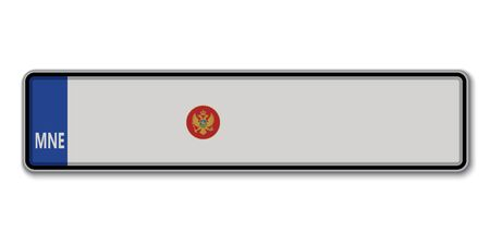 Car number plate. Vehicle registration license of Montenegro