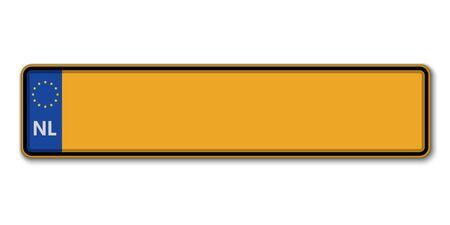 Auto kenteken. kentekenbewijs van Nederland Vector Illustratie