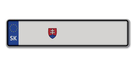 Car number plate. Vehicle registration license of Slovakia