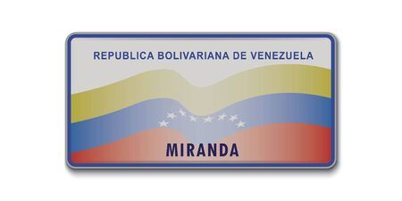 Car number plate. Vehicle registration license of Venezuela