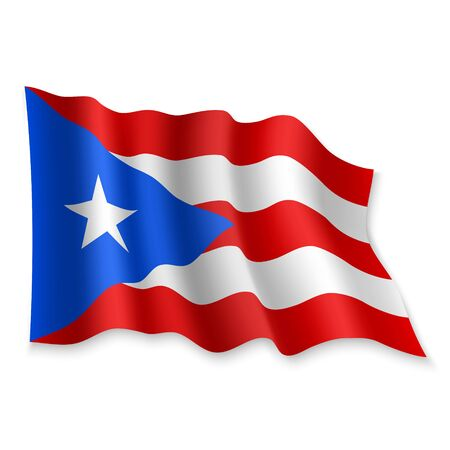 3D Realistic waving Flag of Puerto Rico on white background Standard-Bild - 132559974