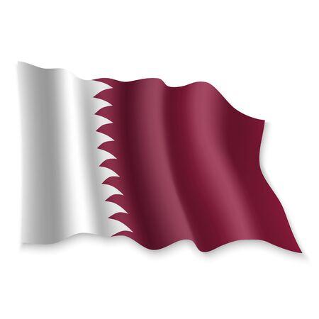 3D Realistic waving Flag of Qatar on white background Standard-Bild - 132559043