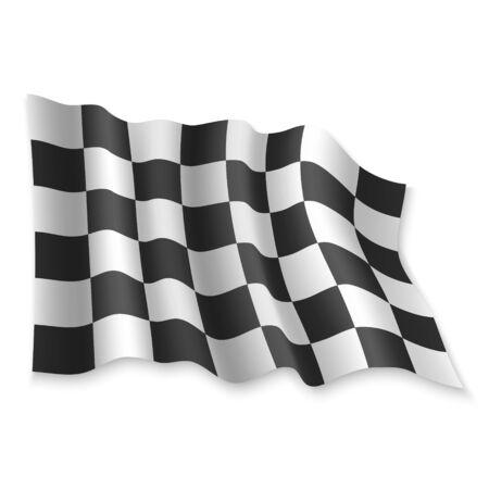3D Realistic waving Race Flag on white background Standard-Bild - 132559983