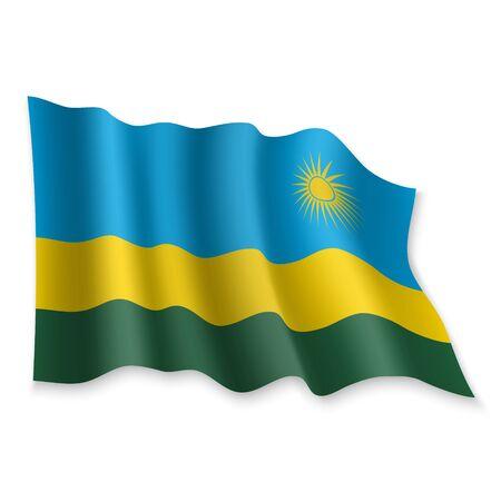 3D Realistic waving Flag of Rwanda on white background Illustration