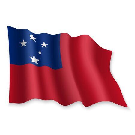 3D Realistic waving Flag of Samoa on white background Standard-Bild - 132560212