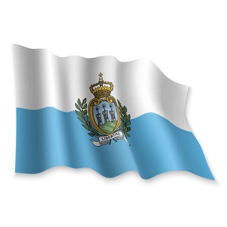 3D Realistic waving Flag of San Marino on white background Standard-Bild - 132558466