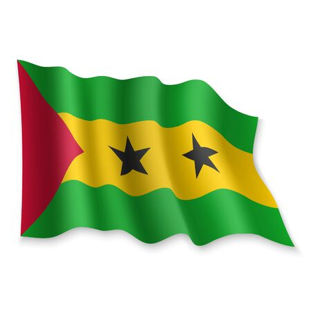 3D Realistic waving Flag of Sao Tome on white background
