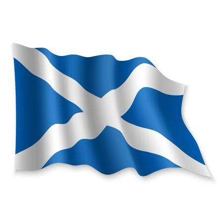 3D Realistic waving Flag of Scotland on white background Standard-Bild - 132560680