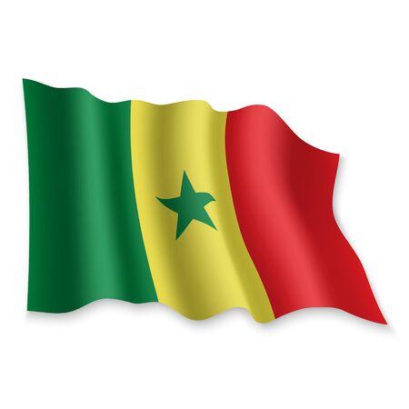 3D Realistic waving Flag of Senegal on white background Standard-Bild - 132560103