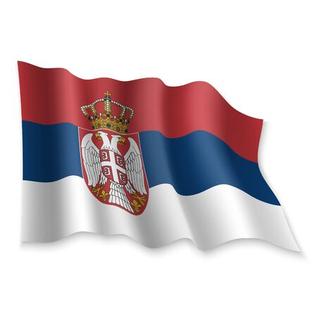3D Realistic waving Flag of Serbia on white background Standard-Bild - 132560153