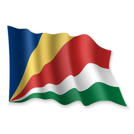 3D Realistic waving Flag of Seychelles on white background Standard-Bild - 132560349