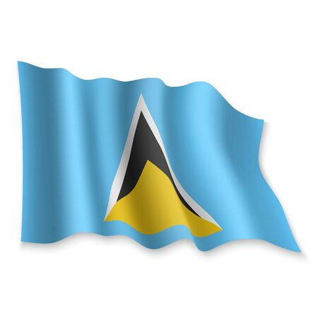 3D Realistic waving Flag of Saint Lucia on white background Standard-Bild - 132560439