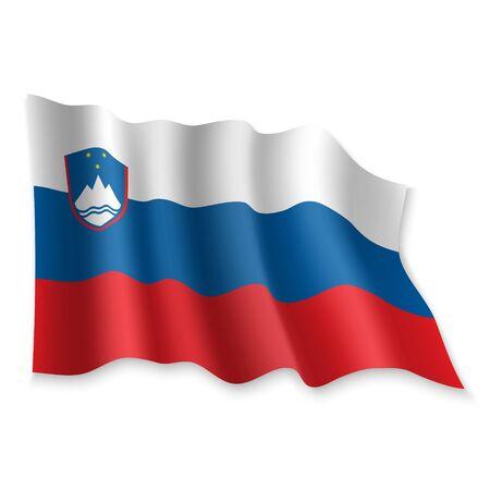 3D Realistic waving Flag of Slovenia on white background Standard-Bild - 132558845