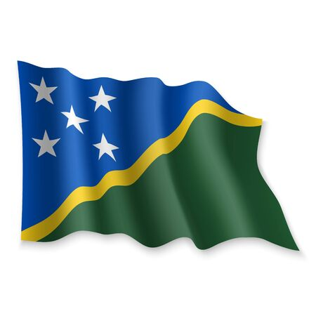 3D Realistic waving Flag of Solomon Islands on white background Standard-Bild - 132558880