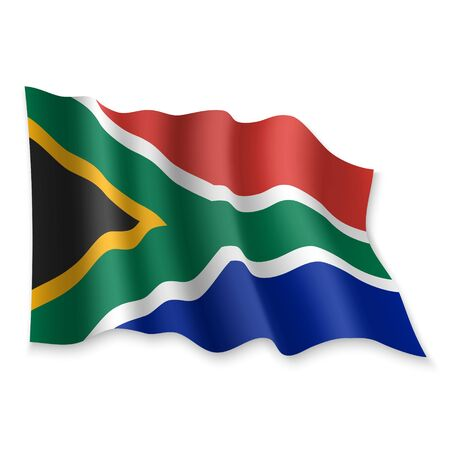 3D Realistic waving Flag of South Africa on white background Standard-Bild - 132559006