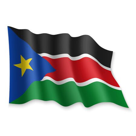 3D Realistic waving Flag of South Sudan on white background Standard-Bild - 132558887