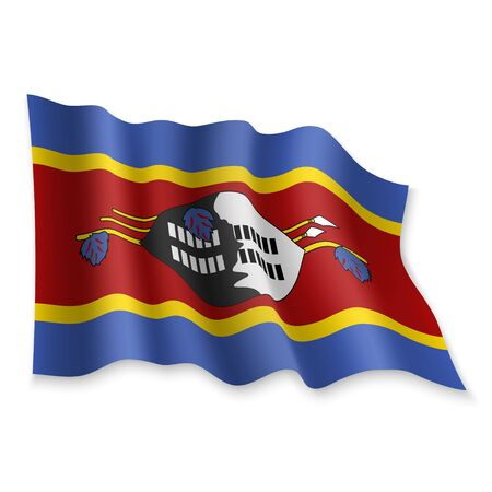 3D Realistic waving Flag of Swaziland on white background Standard-Bild - 132560159
