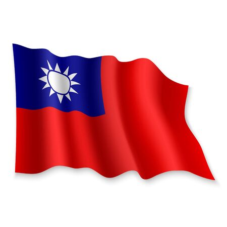 3D Realistic waving Flag of Taiwan on white background Standard-Bild - 132559941