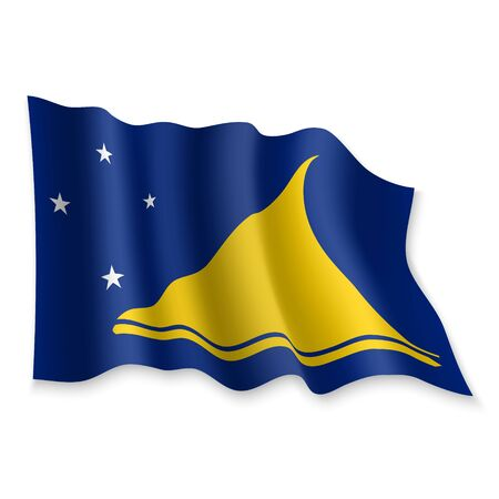 3D Realistic waving Flag of Tokelau on white background Standard-Bild - 132561055